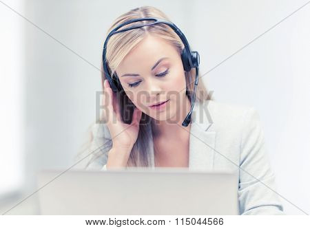 female helpline operator with laptop