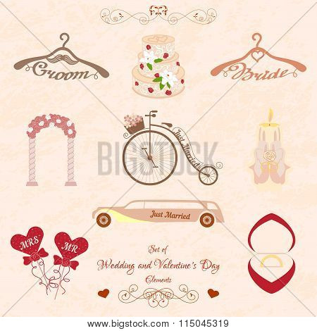 Set of Wedding and Valentines Day elements