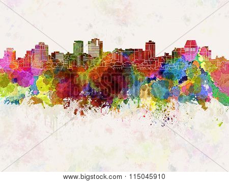 Christchurch Skyline In Watercolor Background
