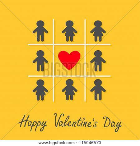 Happy Valentines Day. Love Card. Man Woman Icon Tic Tac Toe Game. Red Heart Sign Yellow Background F