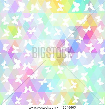 set butterflies, cicada  with colored rhombus. Geometric background. Seamless pattern black rainbow