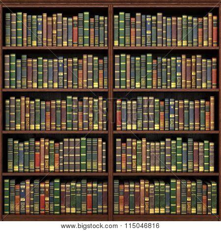 Bookshelf Full Of Books Background. Old Library.