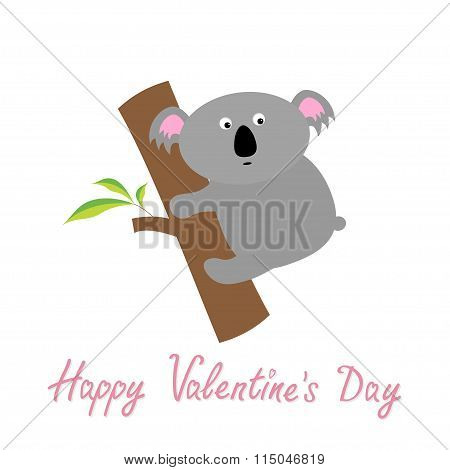 Happy Valentines Day. Love Card. Cute Koala. Baby Background Flat Design
