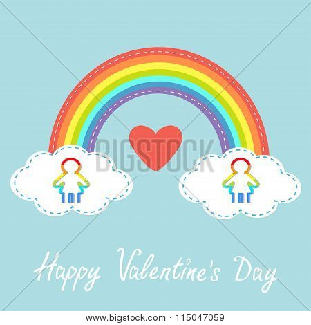 Happy Valentines Day. Red Heart. Love Card. Rainbow In The Sky. Dash Line Cloud. Gay Marriage Pride