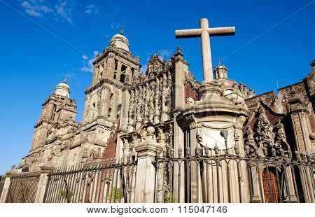 Scenic View Of Cathedral Metropolitana And A Cross, Mexico City