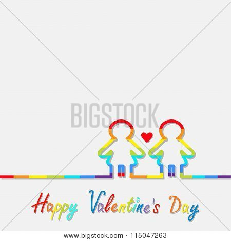 Happy Valentines Day. Love Card. Gay Marriage Pride Symbol Two Contour Rainbow Line Woman Lgbt Icon