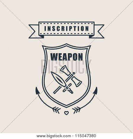 Retro vector vintage sword badges, shields, crests and heraldry logo design elements