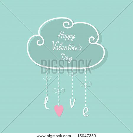 Happy Valentines Day. Cloud With Hanging Rain Button Drops, Bow, Word Love. Heart Shape. Dash Line F