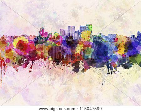Darwin Skyline In Watercolor Background