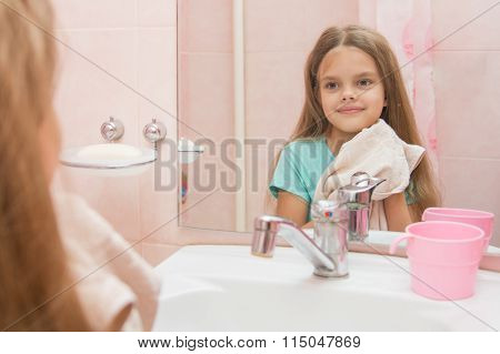 Girl Towel In The Bathroom