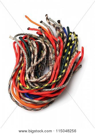 Bundle of Colourful Para Cords on White Background