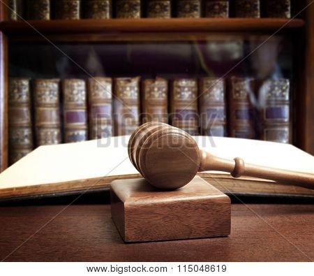 The gavel of a judge in court