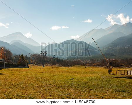 Bansko, Bulgaria - November 15, 2015: Autumn Gorrodskoy Landscape Mountain Ski Resort In Bansko, Bul