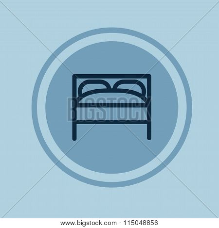 Hotel Room, Bed Linear Icon. Vector Illustration