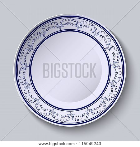 Painted Plates With A Blue Ornament In Ethnic Style With An Empty Space In The Center.