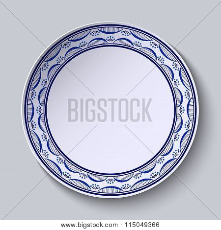 Plate With Ornament In Gzhel Style Of Painting On Porcelain. Thin Pattern With Flowers On The Edge.