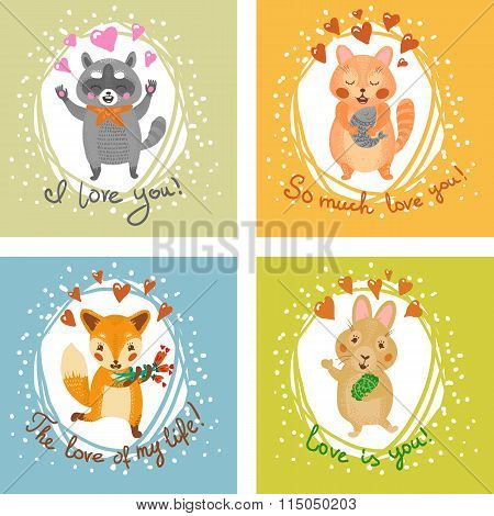 Gift card with fox, cat, bunny, and raccoon. For Valentine's Day, birthday cards. Love theme.