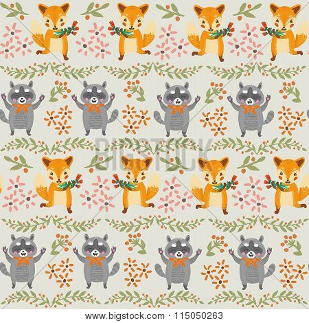 Vintage floral seamless pattern with raccoon and fox.