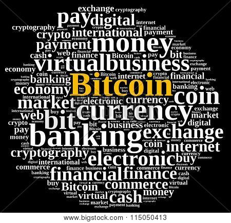 Word Cloud Relating To Bitcoin.
