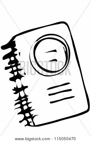 Vector Sketch Of A Closed Notebook