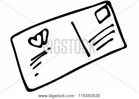 Vector Sketch Of A Sealed Envelope With A Stamp And An Addressd