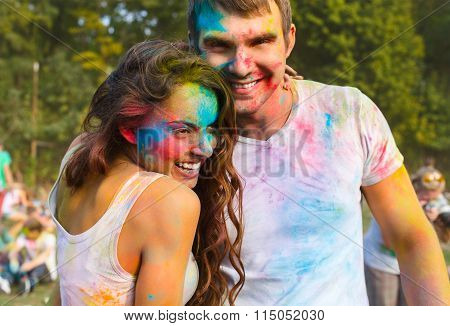 Happy Couple In Love On Holi Color Festival