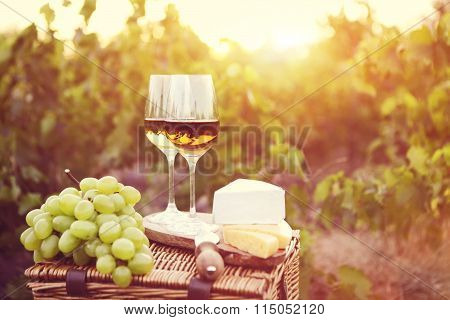 Various Sorts Of Cheese And Two Glasses Of White Wine