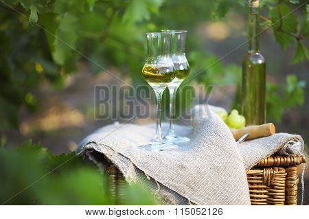 Bottle Of Liquor Or  Grappa And Glasses With Bunch Of Grapes
