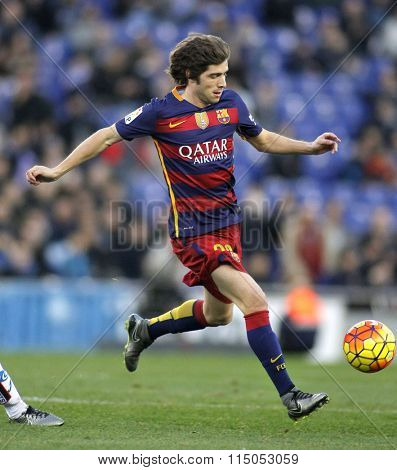 BARCELONA - JAN, 2: Sergi Roberto of FC Barcelona during a Spanish League match against RCD Espanyol at the Power8 stadium on January 2, 2016 in Barcelona, Spain