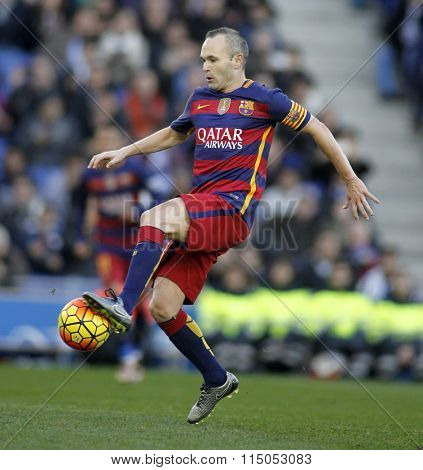 BARCELONA - JAN, 2: Andres Iniesta of FC Barcelona during a Spanish League match against RCD Espanyol at the Power8 stadium on January 2, 2016 in Barcelona, Spain