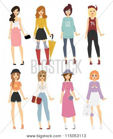 Beautiful vector cartoon fashion girl models look standing over white background. Cartoon fashion young woman. Modern beauty look. Some modern clothes