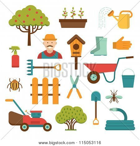 Gardening tools vector icons isolated on white background. Gardener and garden tools icons. Garden care tools, garden equipment vector icons isolated. Gardening tools flat style vector collection