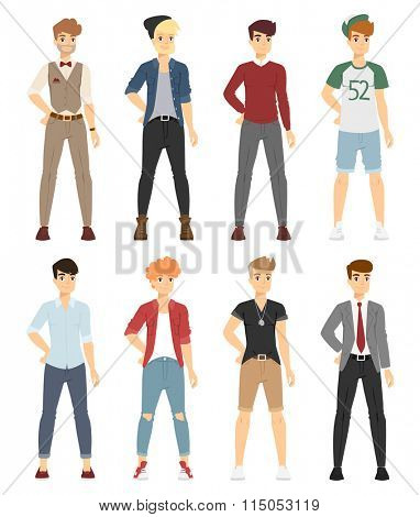 Beautiful vector cartoon fashion boy models look standing over white background. Cartoon fashion young man. Modern beauty look. Some modern clothes