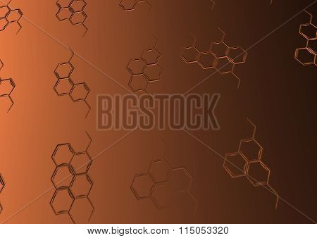 Background with structural chemical formulas.