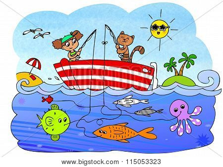Fish boat game for children