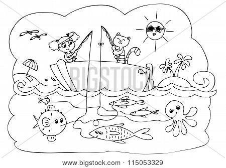 Fish boat game vector