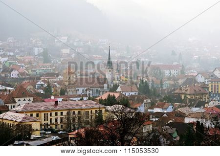 Old Town Of Brasov In A Winter Morning