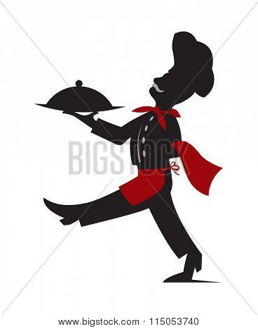 the silhouette illustration of chef with a dish in hand