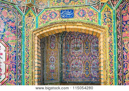 Shiraz, Iran - December 27, 2015: Oriental ornaments from Nasir al-Mulk mosque, Shiraz, Iran