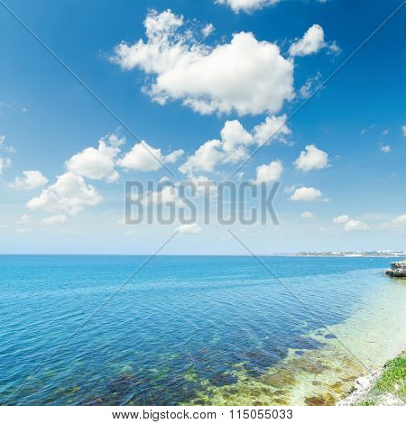 sea and blue sky with white clouds. Ukraine, Khersones in Sevastopol