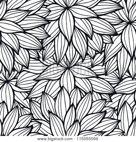 Doodle Flowers Outline Ornamental Seamless Pattern