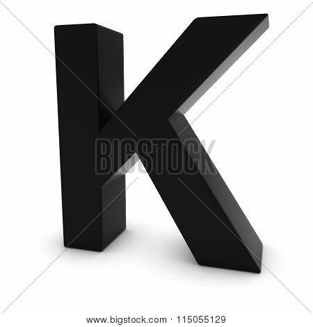 Black Capital K - 3D Letter K Isolated On White