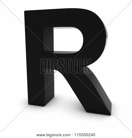 Black Capital R - 3D Letter R Isolated On White