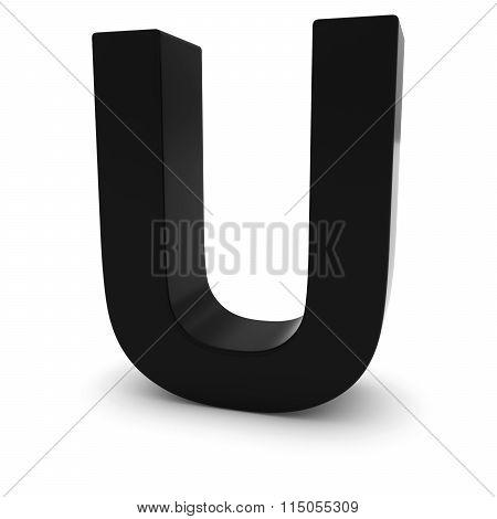 Black Capital U - 3D Letter U Isolated On White