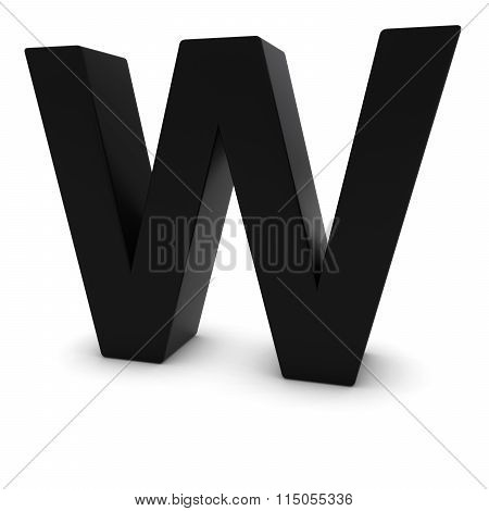 Black Capital W - 3D Letter W Isolated On White