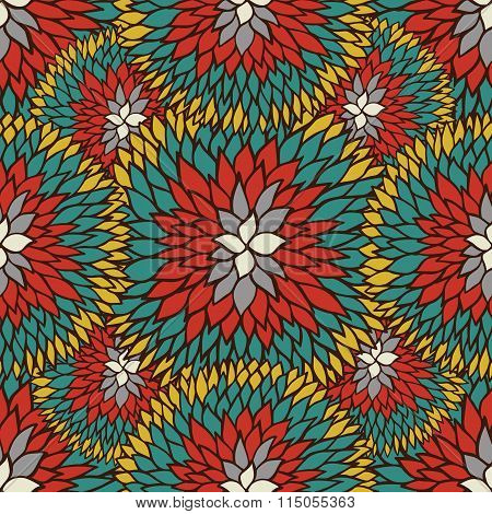 Doodle Daisies Outline Ornamental Seamless Pattern In Ethnic Colors