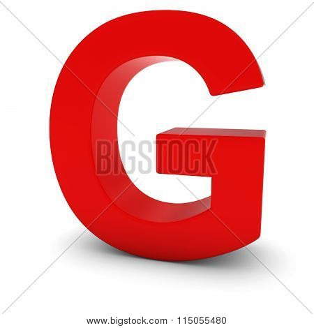Red Capital G - 3D Letter G Isolated On White