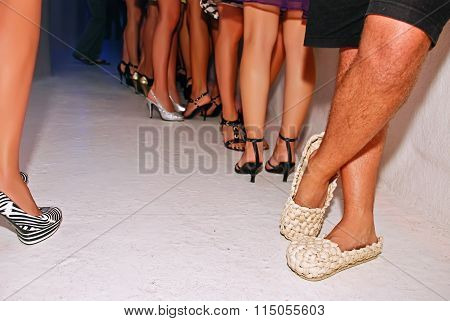 Straw shoes in the night club.