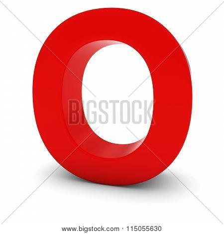 Red Capital O - 3D Letter O Isolated On White