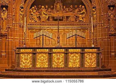 LIVERPOOL 14th JANUARY 2016 Beautiful ornate Altar inside Liverpool Anglican Cathedral